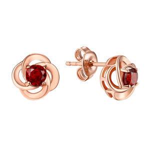 Garnet Flower Studs Silver Rose Gold Post Earrings
